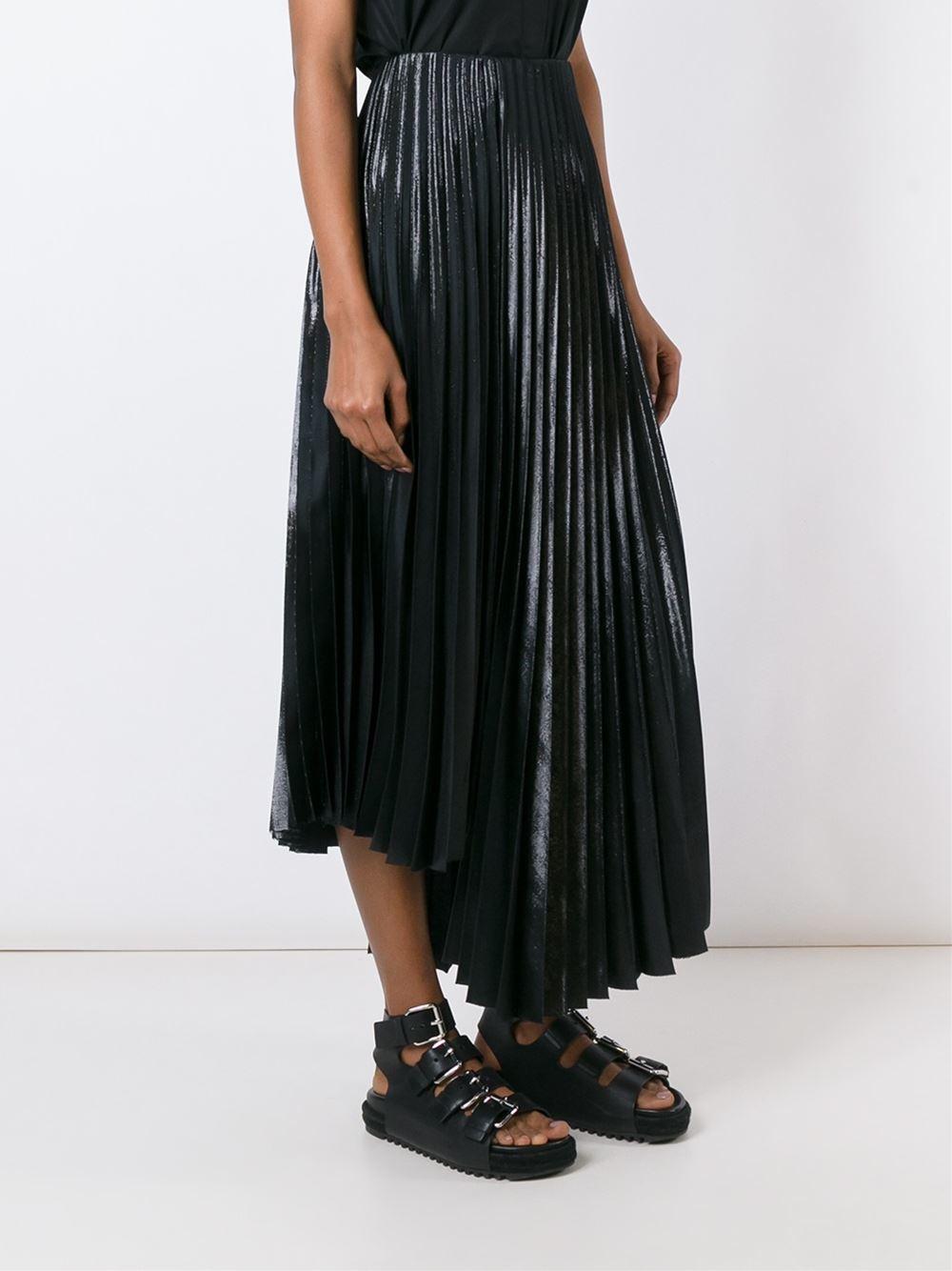 Y's yohji yamamoto Lurex Effect Pleated Skirt in Black