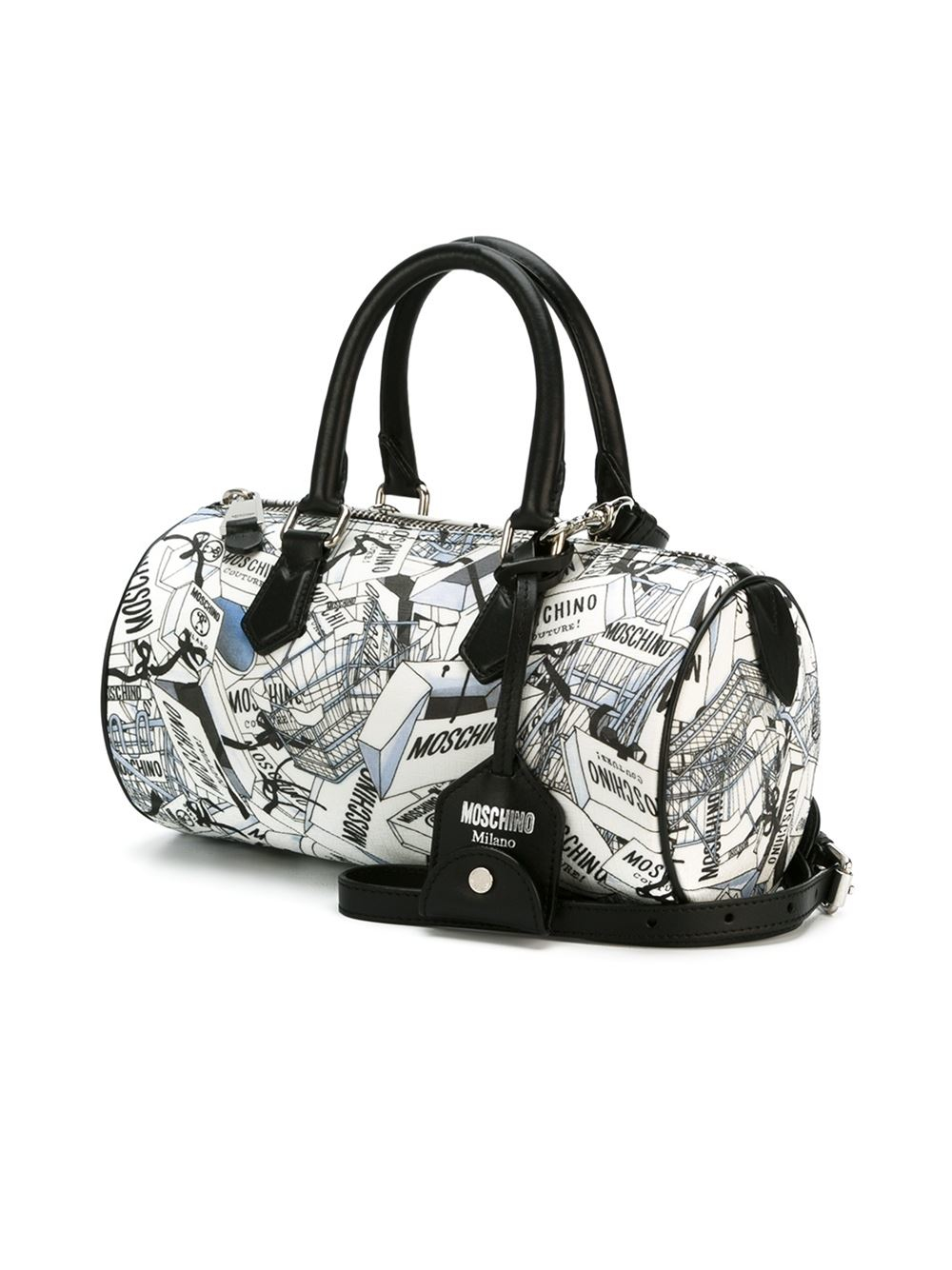 moschino shopping bag print bowler tote in black lyst. Black Bedroom Furniture Sets. Home Design Ideas