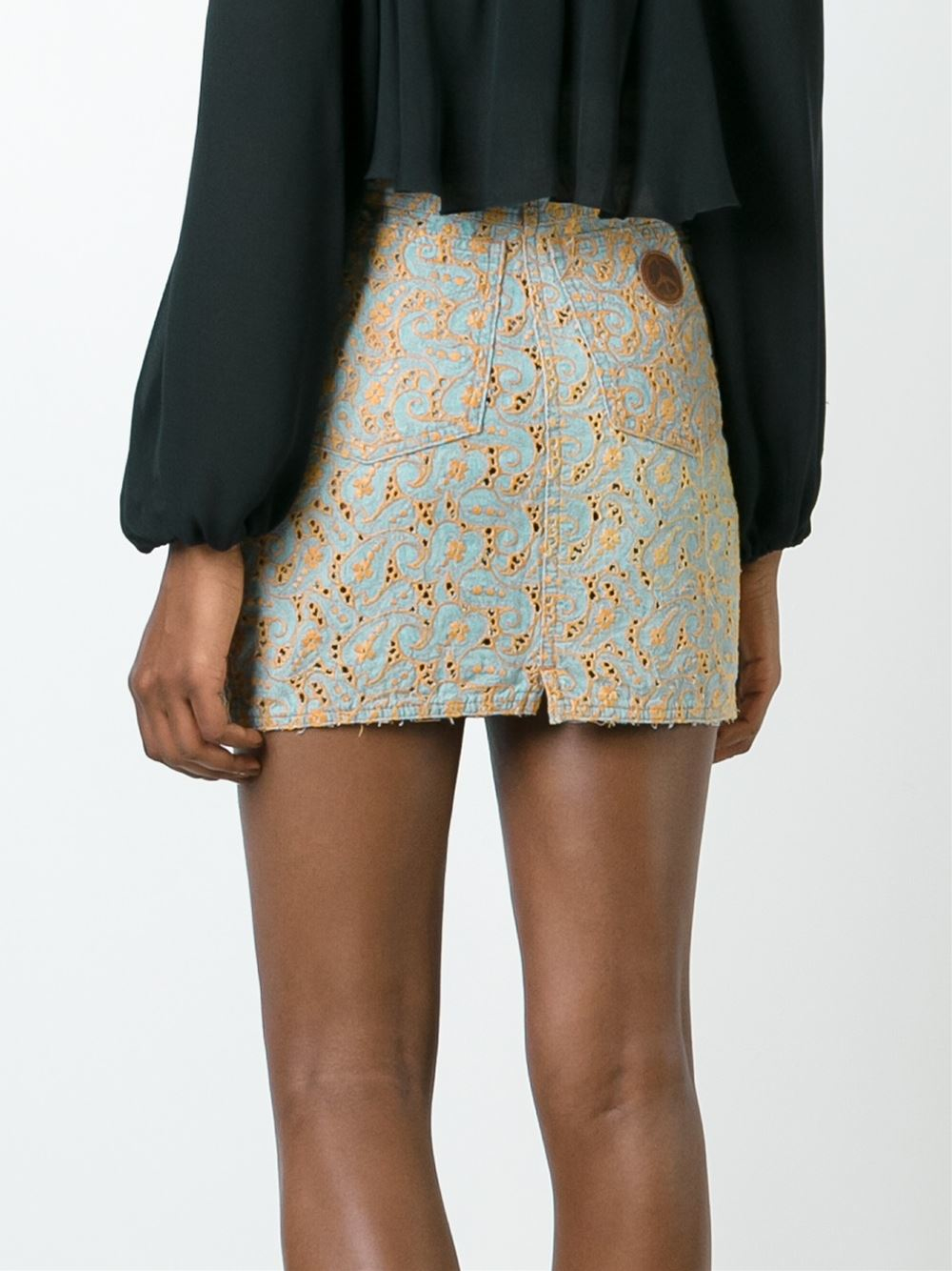 moschino floral embroidered denim skirt in blue lyst