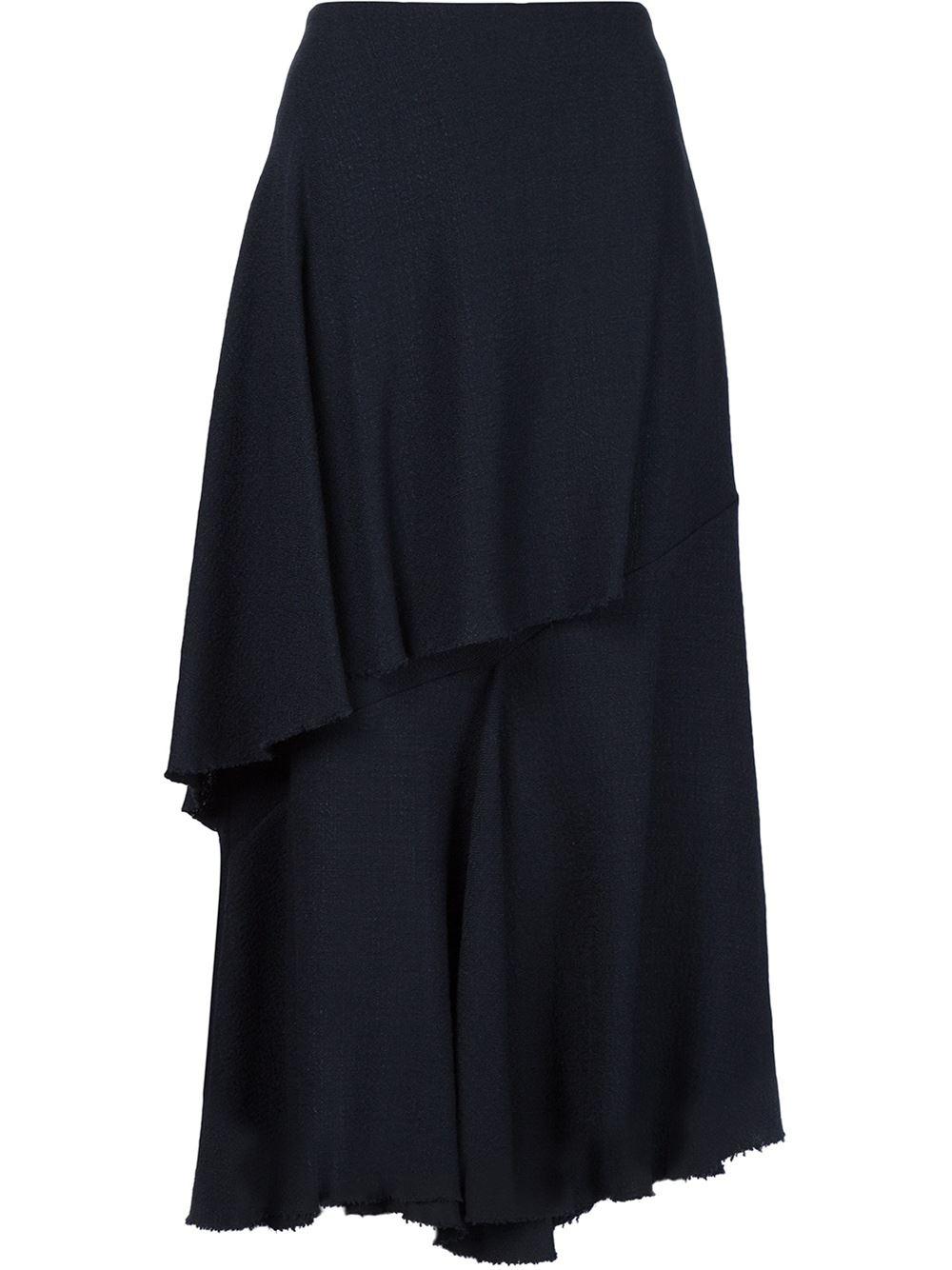 marni asymmetric ruffle midi skirt in black lyst