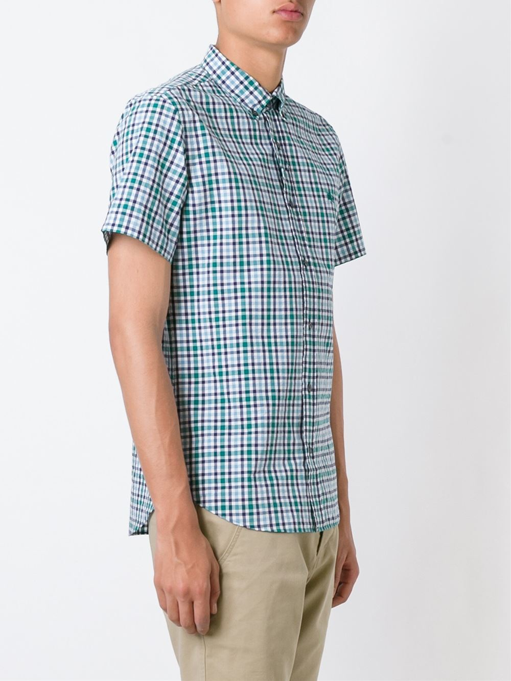 Burberry brit checked shortsleeved shirt in green for men for Burberry brit checked shirt