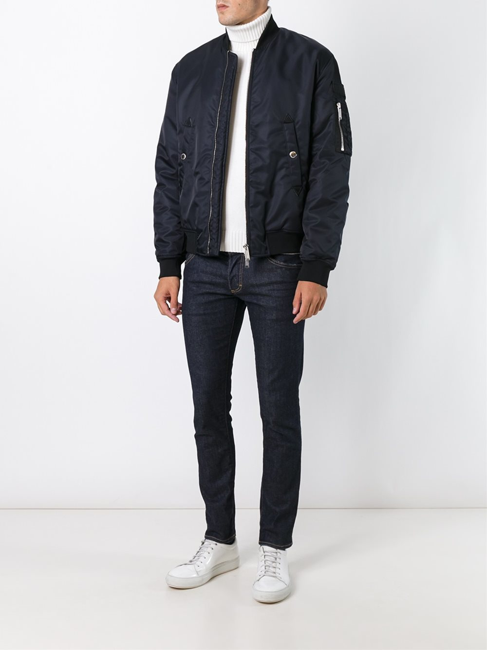 DSquared² Synthetic 'military' Bomber Jacket in Blue for Men