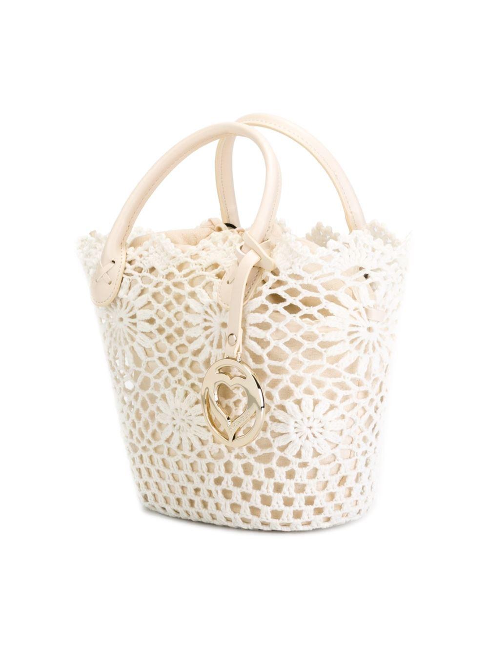 Twin Set Cotton Crochet Detail Tote in White