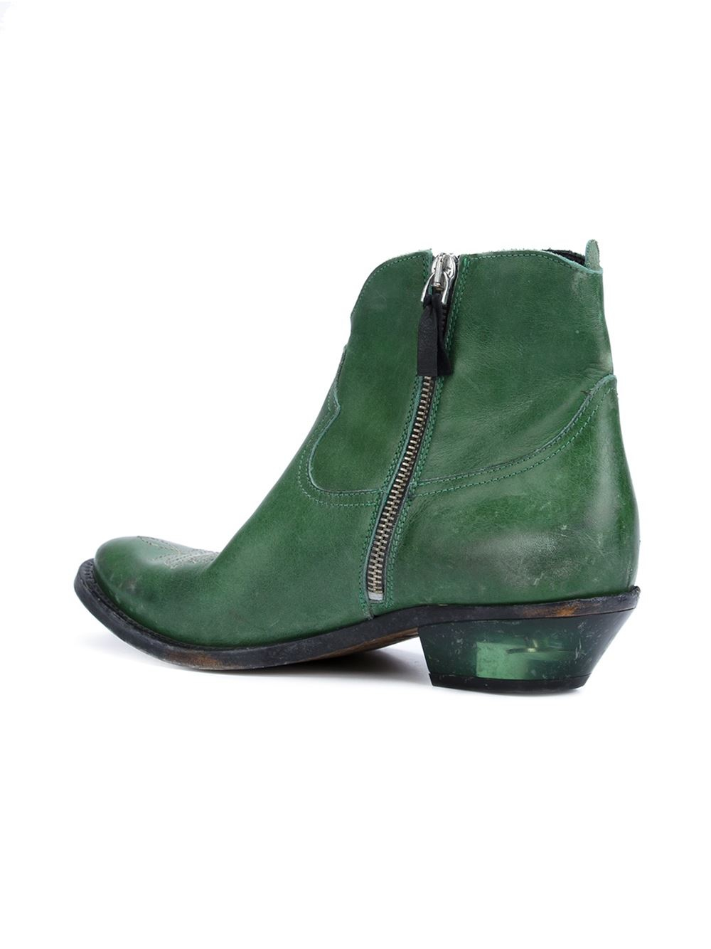 Golden Goose Deluxe Brand Lena Leather Boots in Green