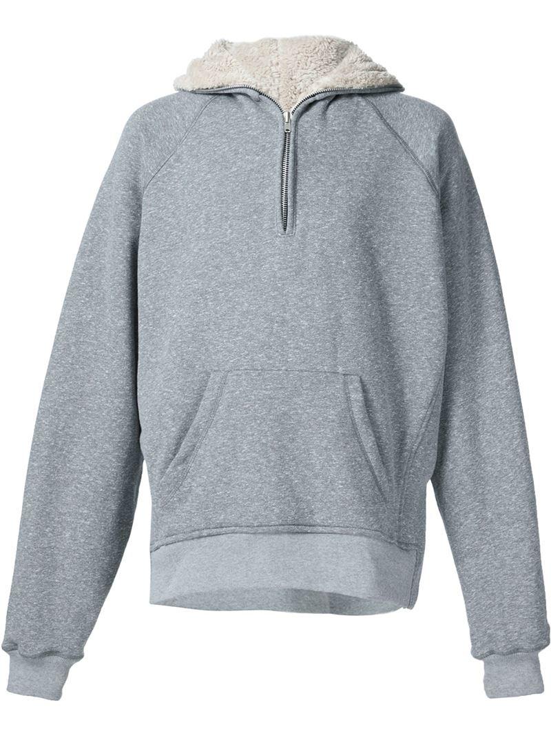 fear of god half zip sherpa hoodie in gray for men grey. Black Bedroom Furniture Sets. Home Design Ideas