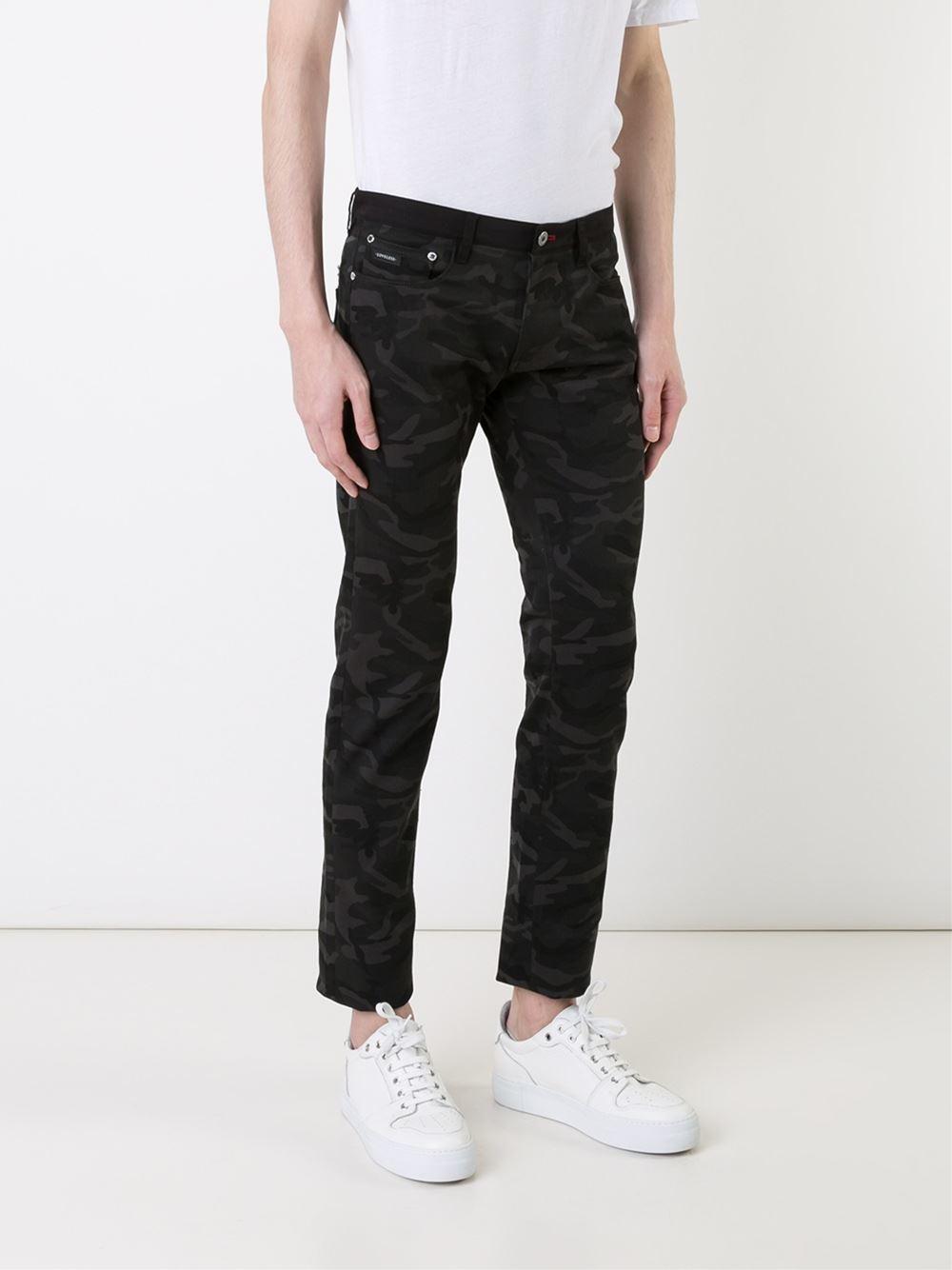 Loveless Denim Camouflage Print Skinny Jeans in Black for Men