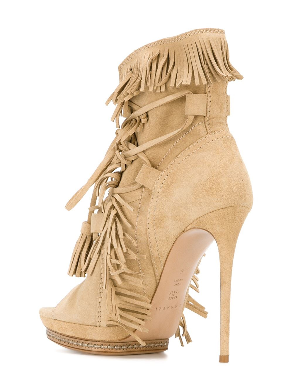 casadei fringed open toe boots in lyst