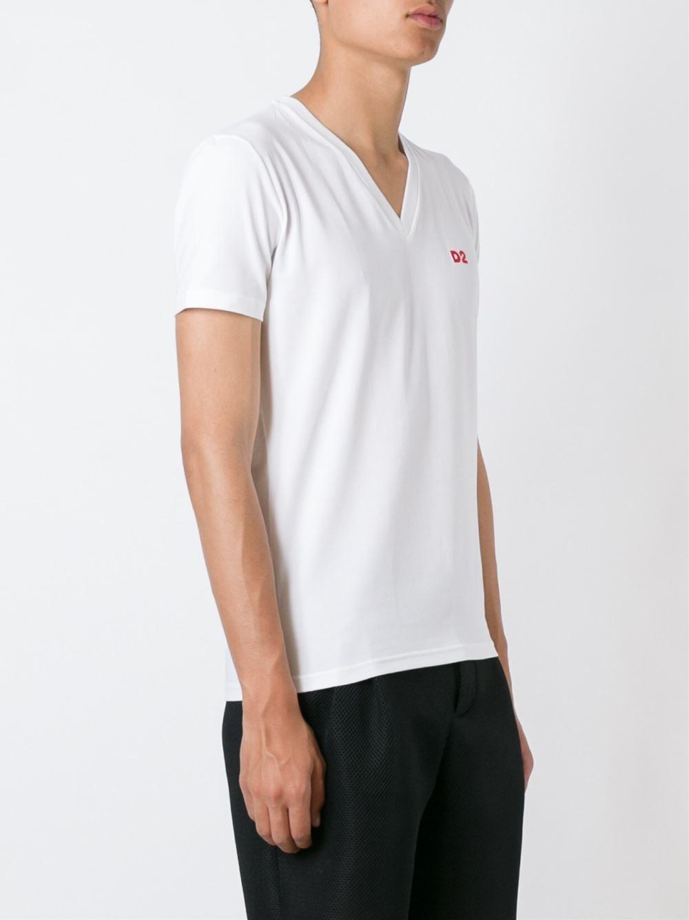 Dsquared v neck t shirt in white for men lyst for V neck white t shirts for men