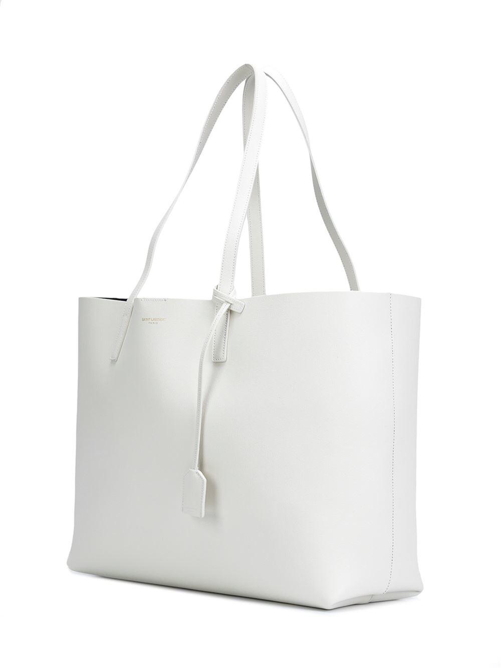 saint laurent large shopper tote in white lyst. Black Bedroom Furniture Sets. Home Design Ideas