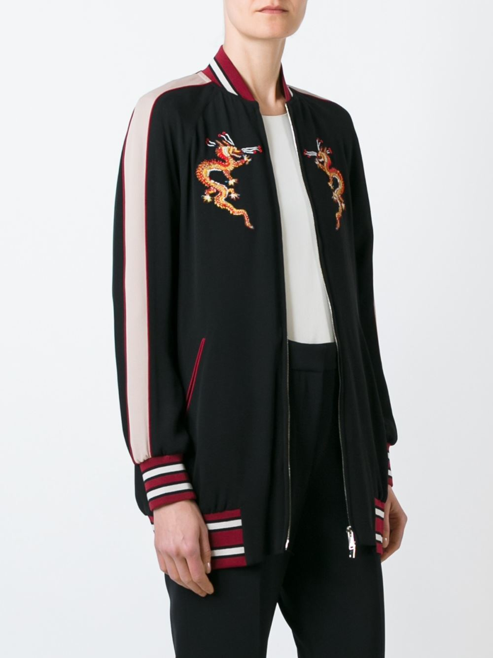 Valentino Dragon Embroidered Bomber Jacket in Black