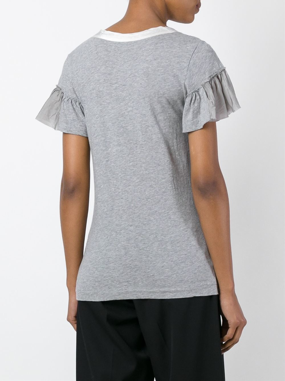Lyst sacai ruffle sleeve t shirt in gray for Frill sleeve t shirt
