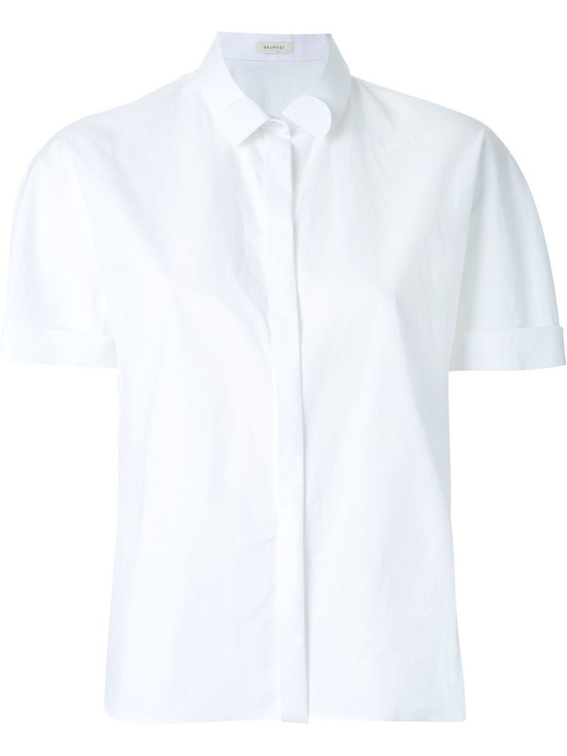 Delpozo fold up collar cropped shirt in white lyst for Cropped white collared shirt