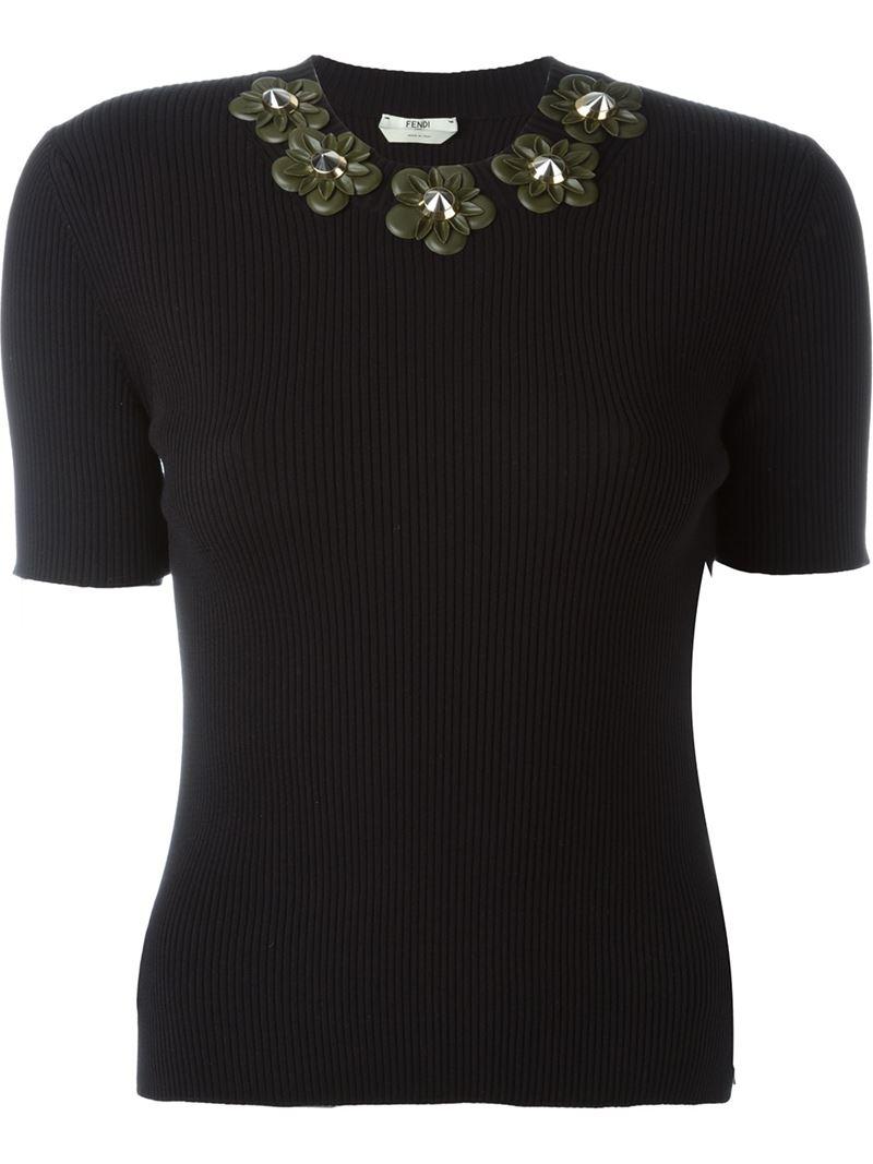 Lyst Fendi Flower Appliqu T Shirt In Black