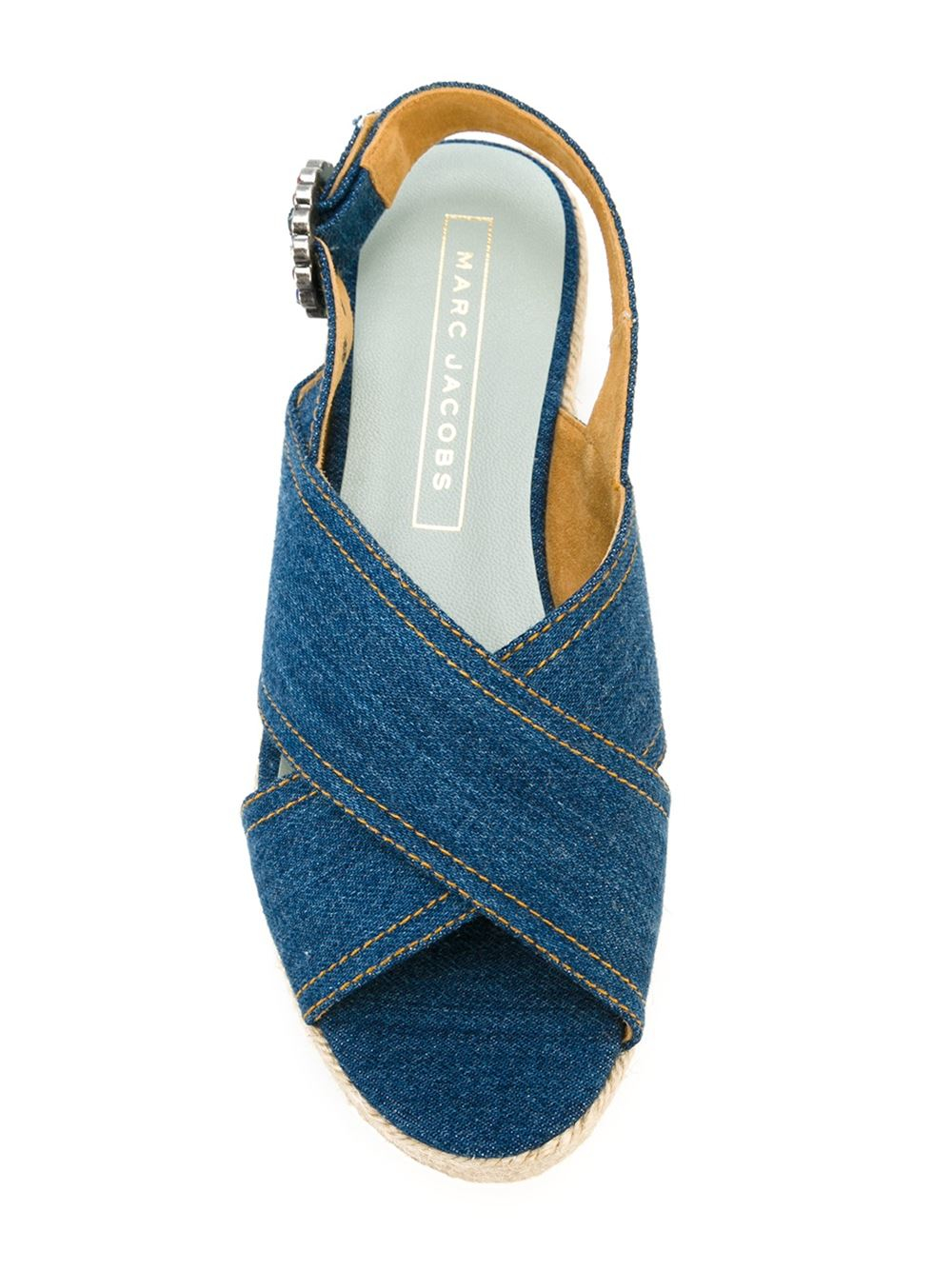 Marc Jacobs Denim Flatform Sandals In Blue Lyst