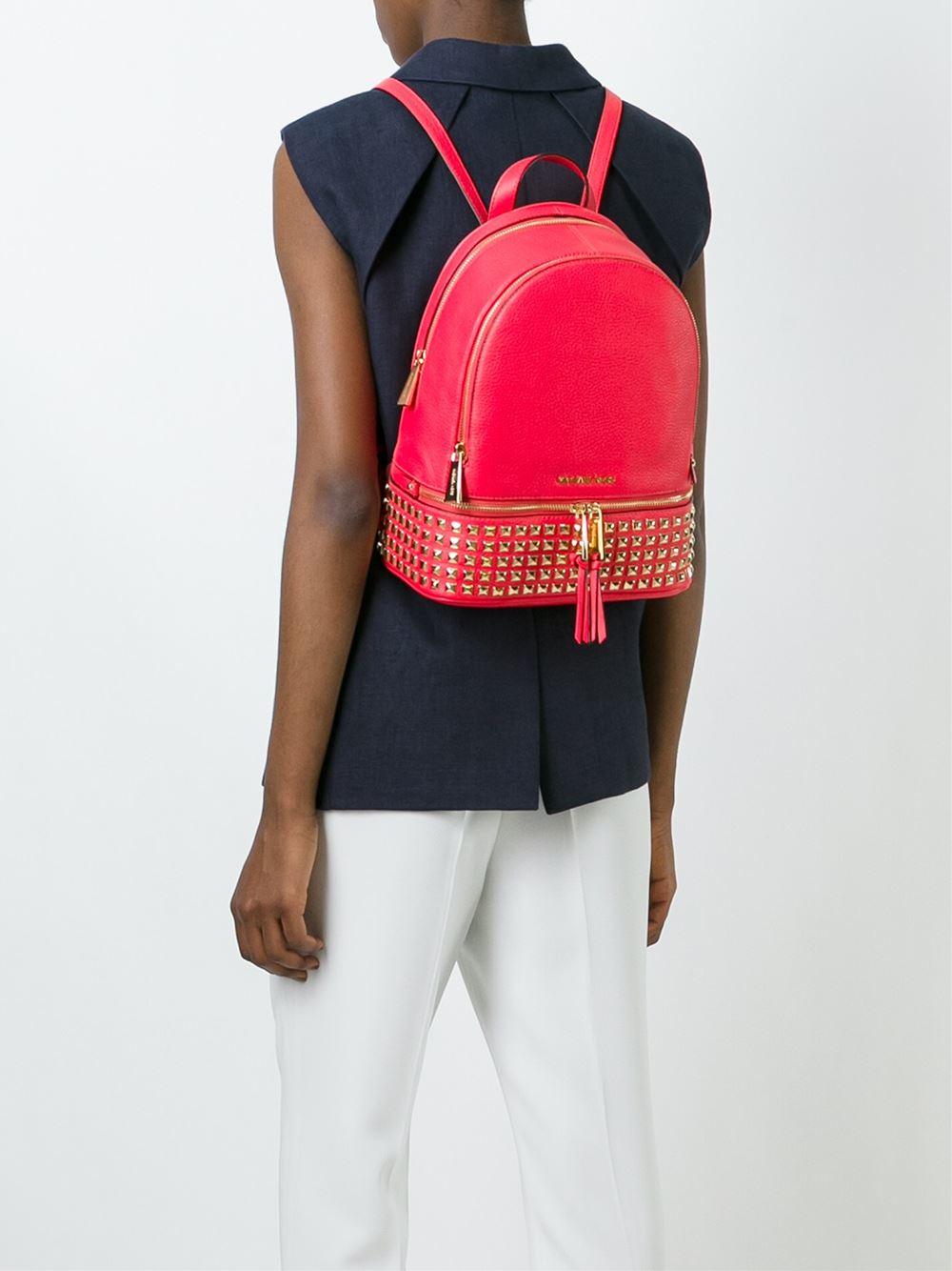 f15032144438 sweden lyst michael michael kors rhea studded backpack in pink eab3c 53648