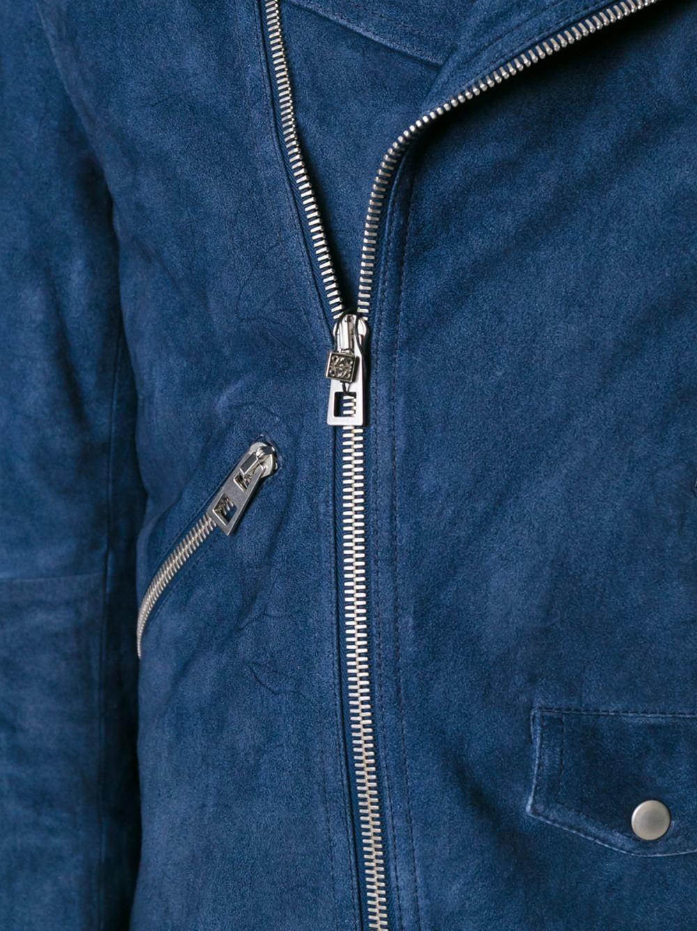 Loewe Suede Biker Jacket in Blue for Men