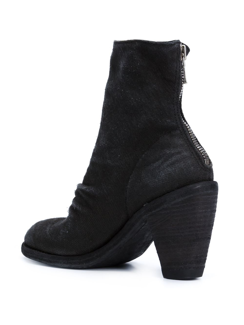 Guidi Zipped Ankle Leather Boots in Black