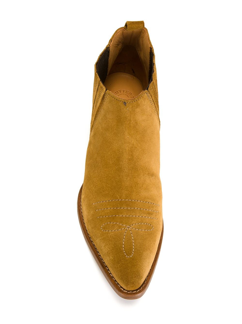 Buttero Leather Texan Booties in Brown
