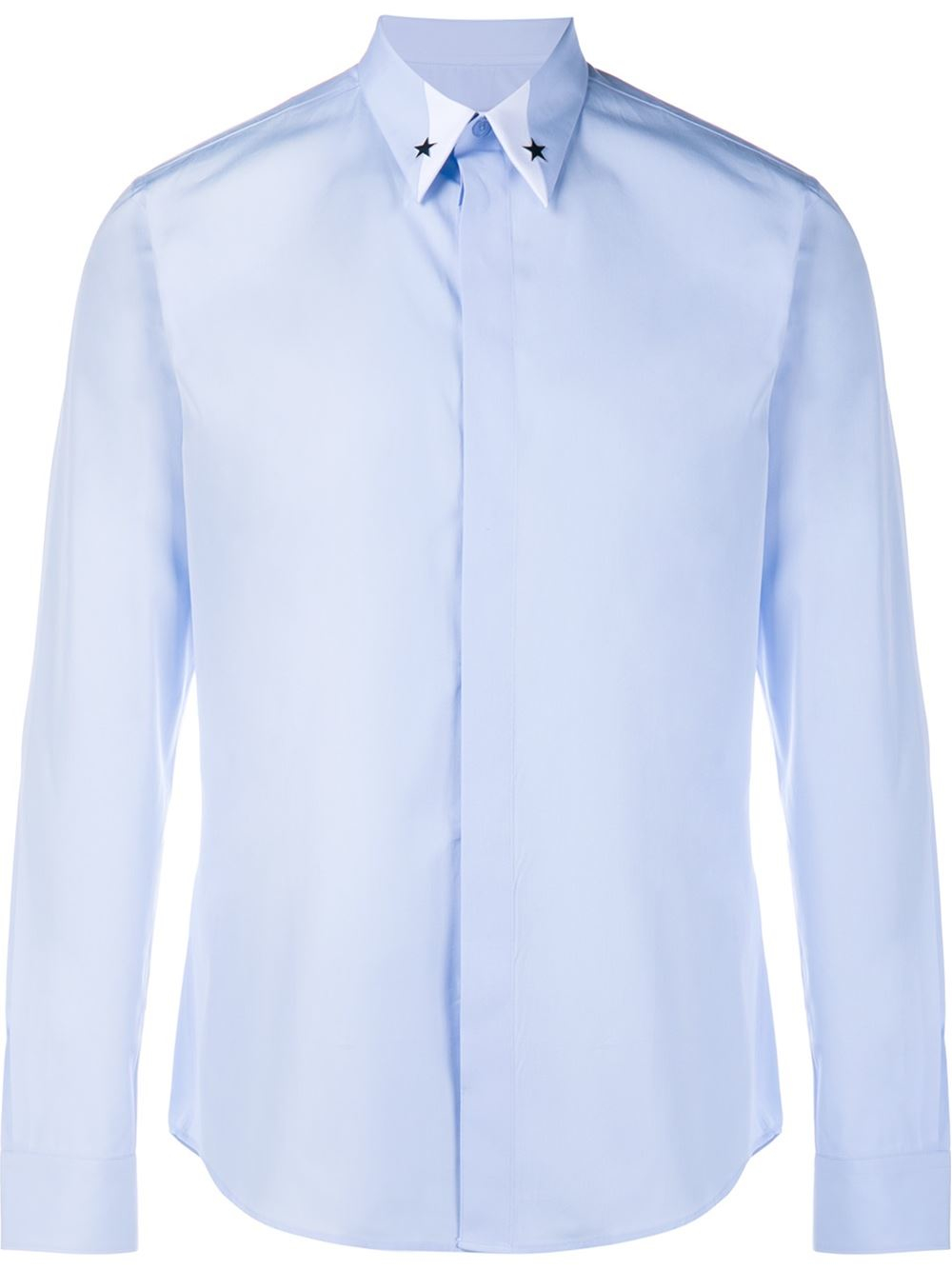 Givenchy star embellished cotton shirt in blue for men lyst for Givenchy 5 star shirt