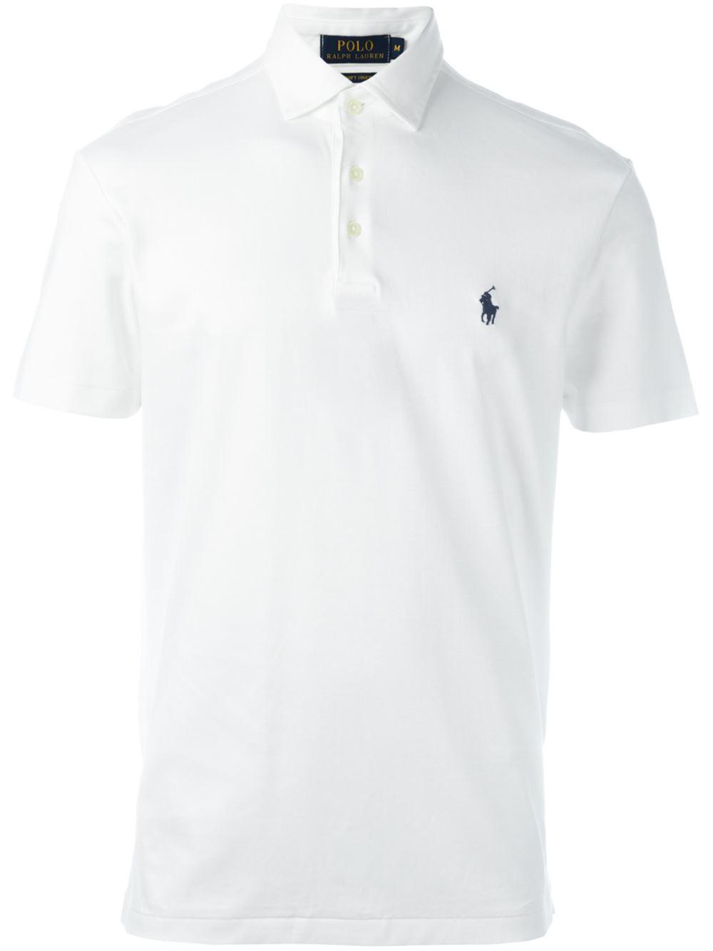 Polo ralph lauren embroidered logo polo shirt in white for for Ralph lauren logo shirt
