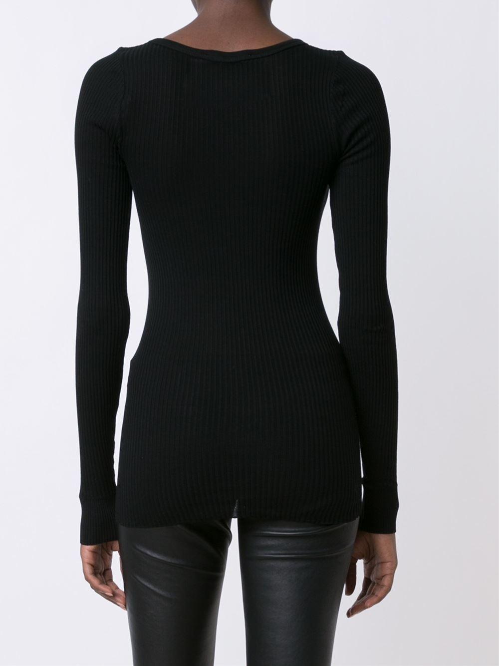Lyst faith connexion ribbed long sleeve t shirt in black for Ribbed long sleeve shirt