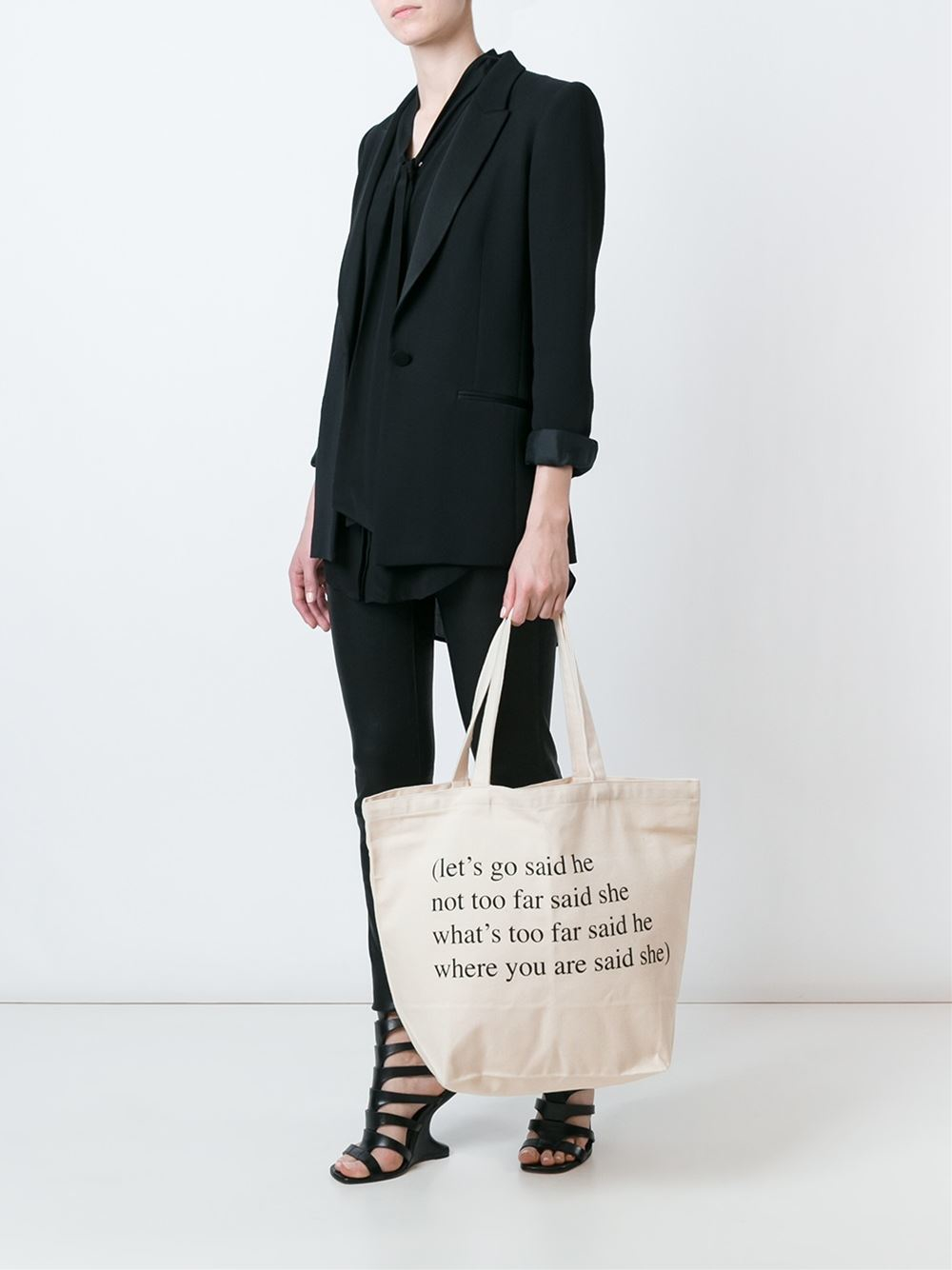 Ann Demeulemeester Canvas Tote in White (Natural)