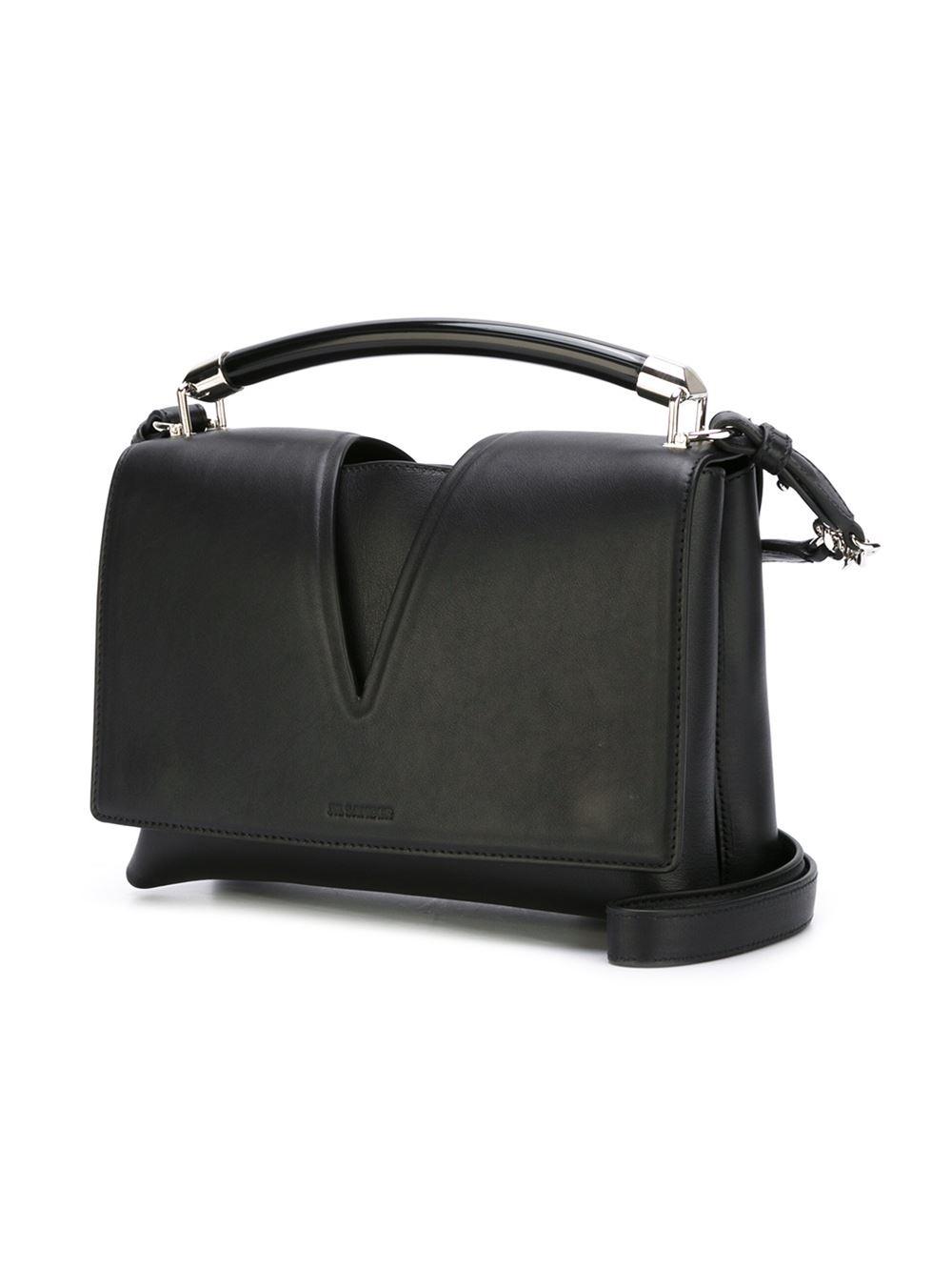 Jil Sander Small View Tube Leather Cross-Body Bag in Black