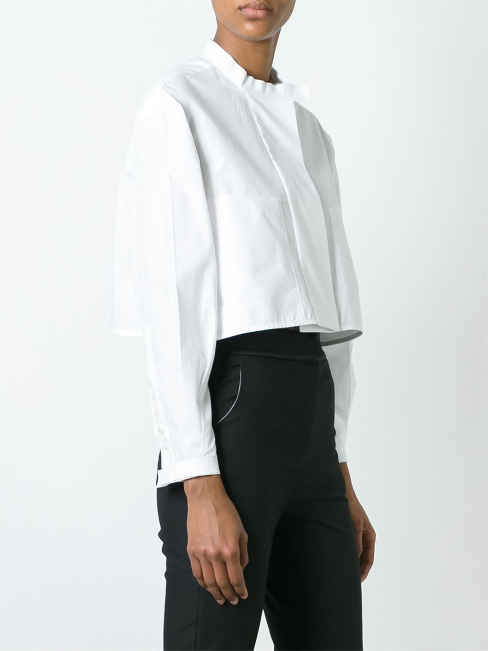 Ellery banded collar cropped shirt in white lyst for Cropped white collared shirt