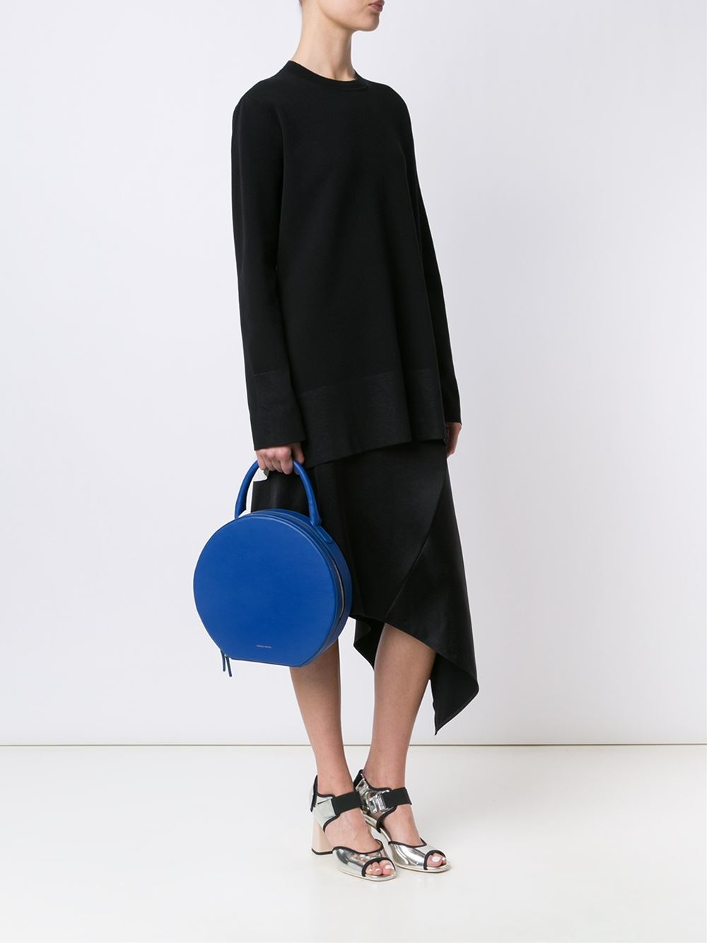 Mansur Gavriel Leather Round Tote in Blue