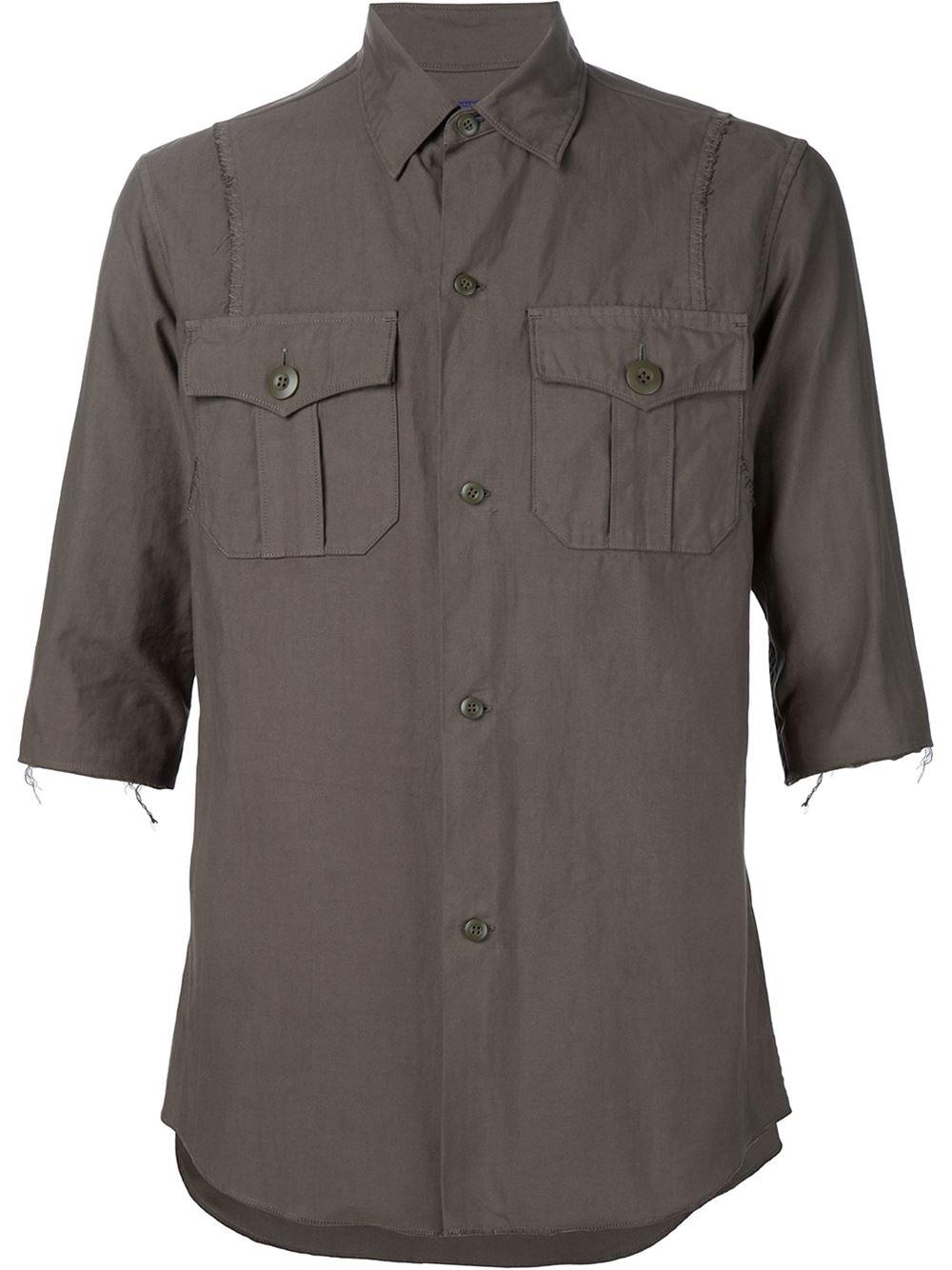 Safari Shirt Cognac Heels: Undercover Safari Shirt In Gray For Men (BROWN)