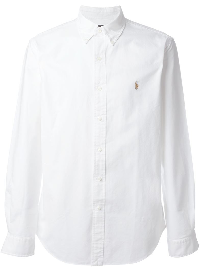 Polo ralph lauren button down collar chest logo shirt in for White button down collar oxford shirt