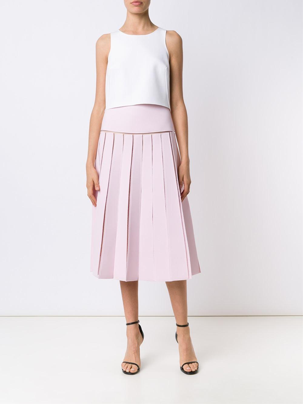 carolina herrera pleated midi skirt in pink lyst