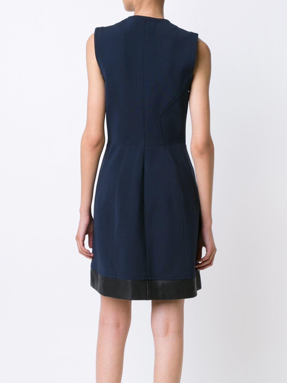 yigal azrou l zip front flared dress in black lyst. Black Bedroom Furniture Sets. Home Design Ideas