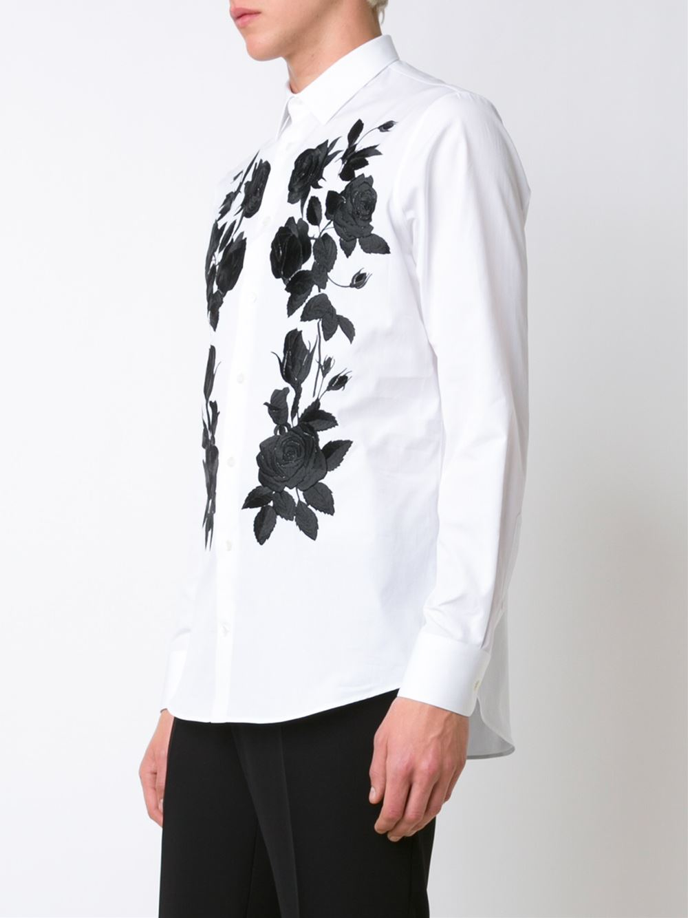 Alexander mcqueen floral embroidered shirt in black for