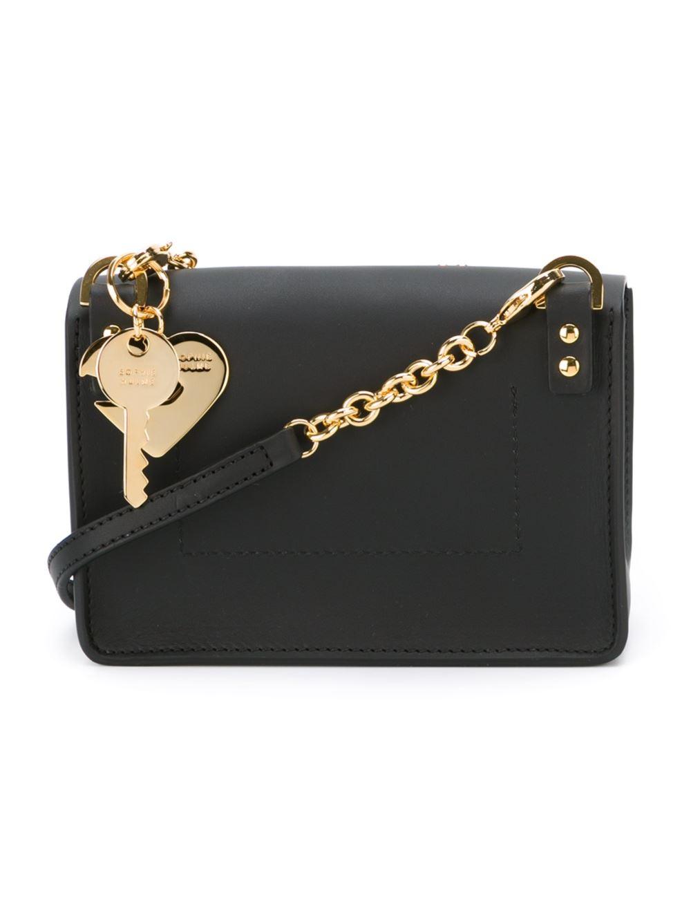 Sophie Hulme Nano Black & Hearts Milner Leather Cross-Body Bag