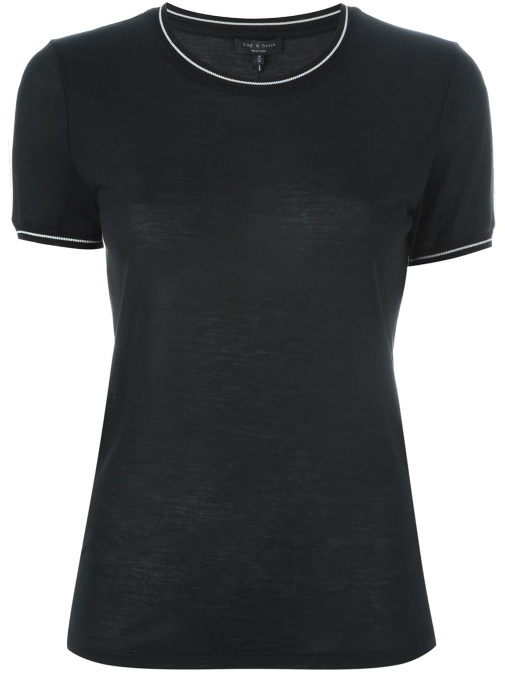 Rag bone contrast trim t shirt in black lyst for Rag bone shirt