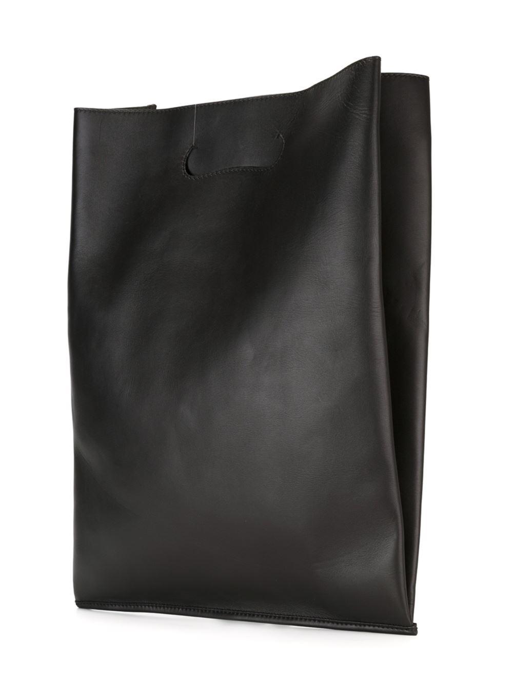 Maison Margiela Leather Large Slim Tote in Black