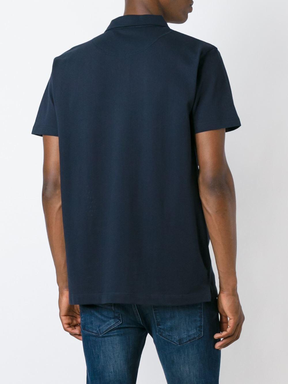 Sunspel chest pocket polo shirt in blue for men lyst for Men s polo shirts with chest pocket