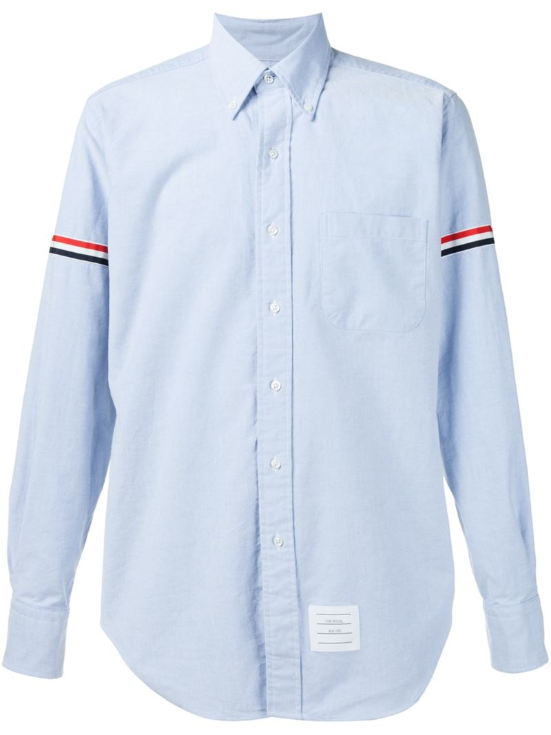 Thom browne striped sleeve shirt in blue for men lyst for Thom browne shirt sale