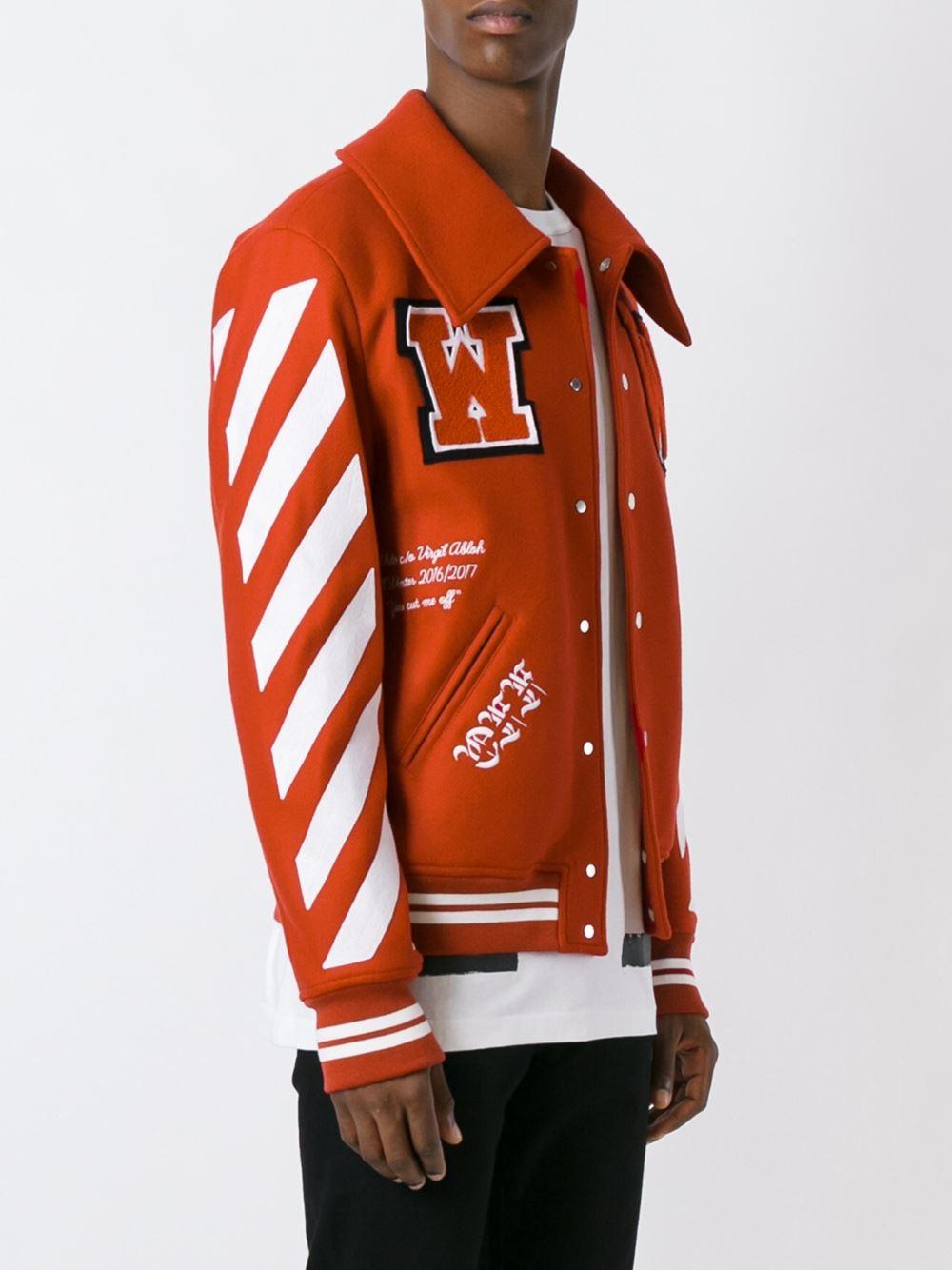 Lyst Off White C O Virgil Abloh Varsity Jacket In Red For Men