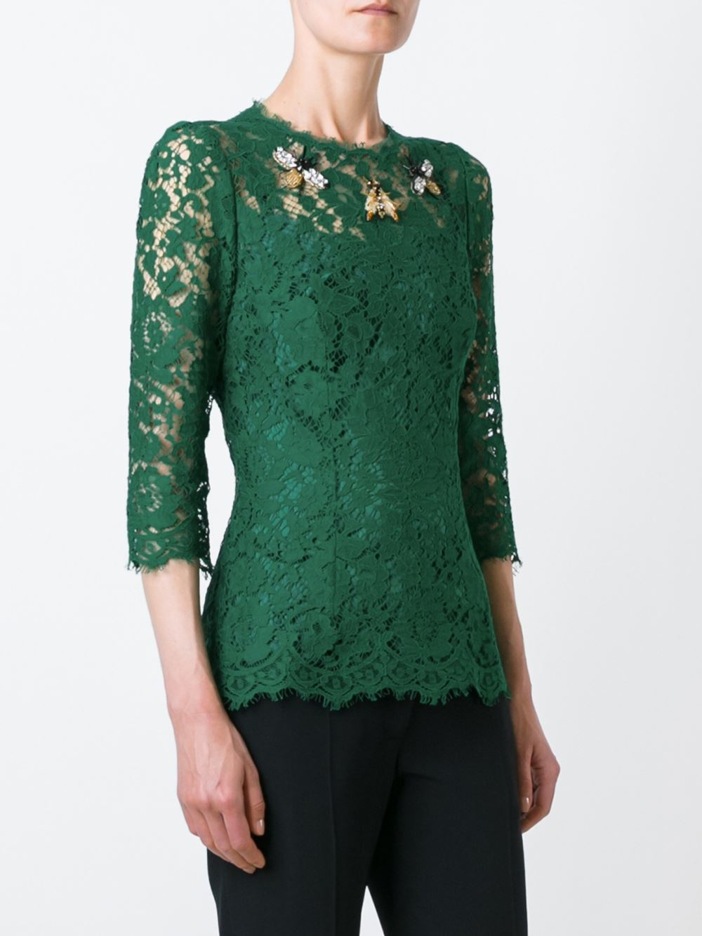 Dolce & gabbana Embellished Lace Blouse in Green | Lyst