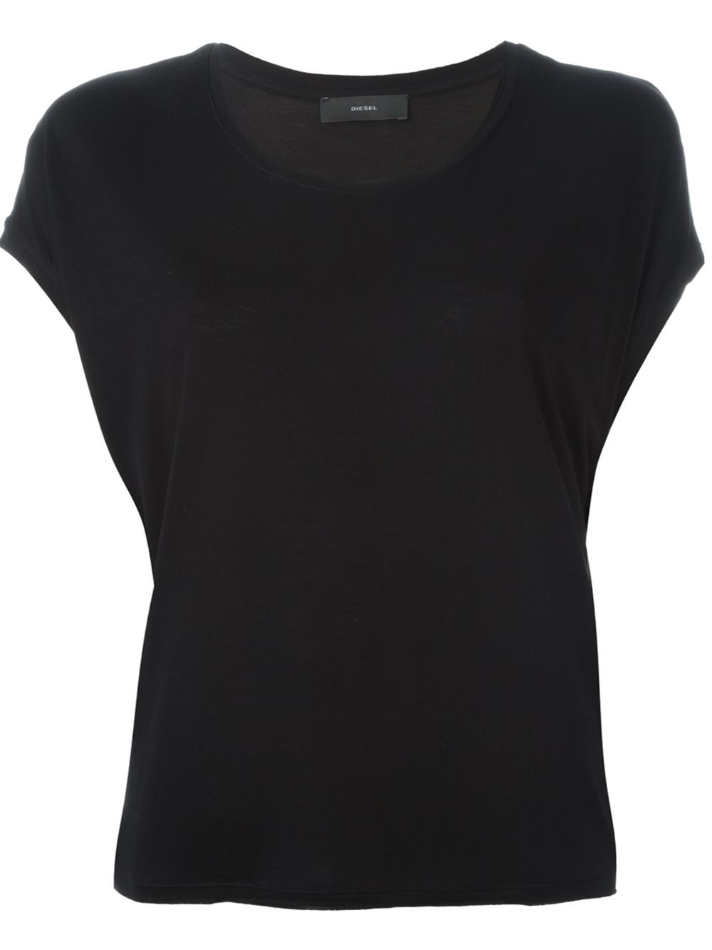 Lyst diesel scoop neck t shirt in black for Scoop neck t shirt