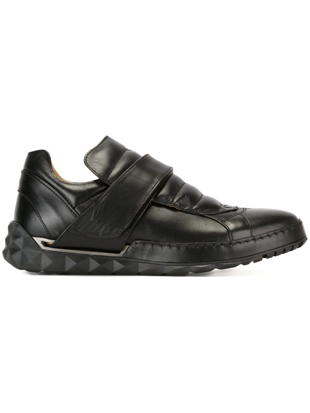 Diesel Leather Velcro Fastening Sneakers In Black For Men