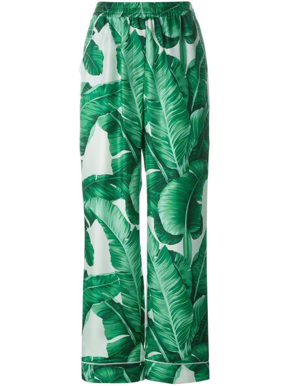 Dolce Amp Gabbana Banana Leaf Print Twill Pyjama Pants In