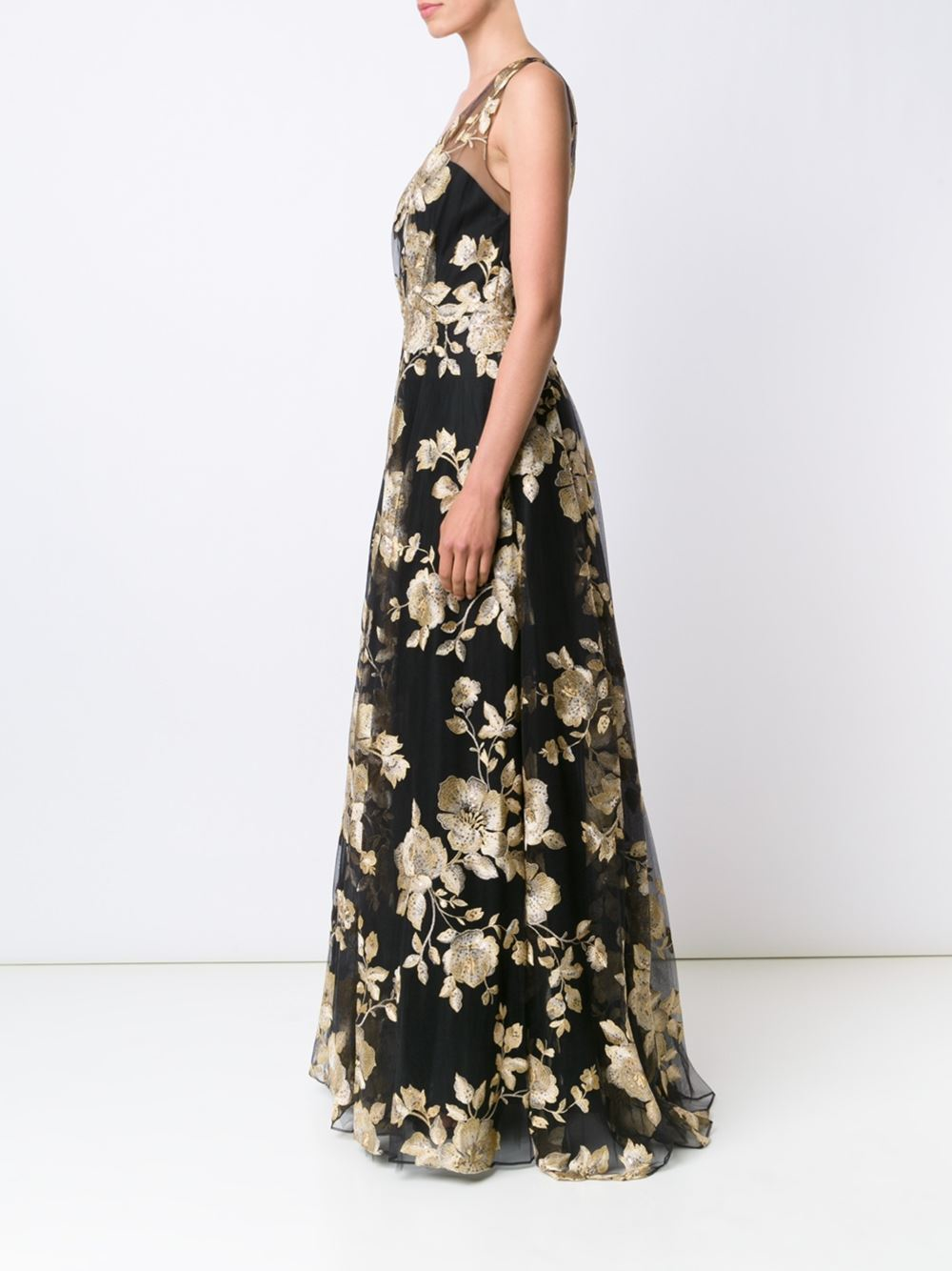 Marchesa Synthetic Sleeveless Floral-embroidered Ball Gown in Black