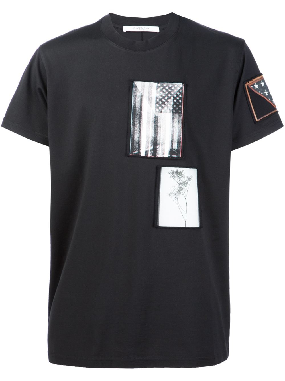 Givenchy contrast patch t shirt in black for men lyst for Givenchy t shirt man