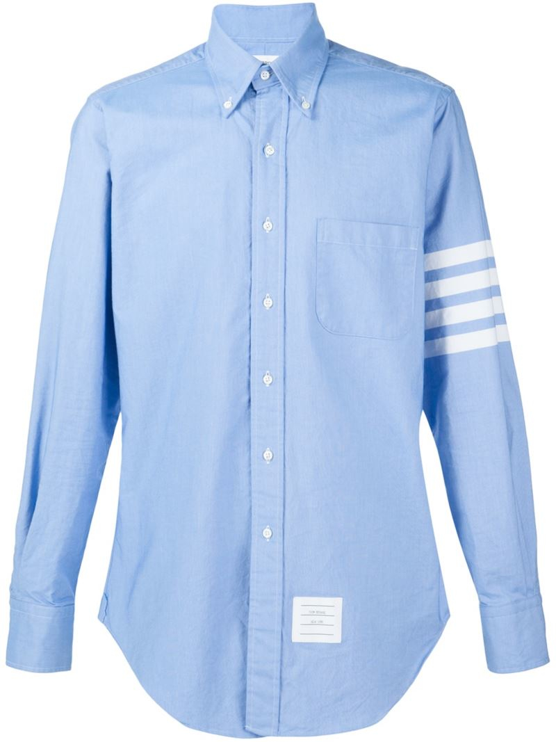 Thom browne striped sleeve shirt in white for men blue for Thom browne shirt sale