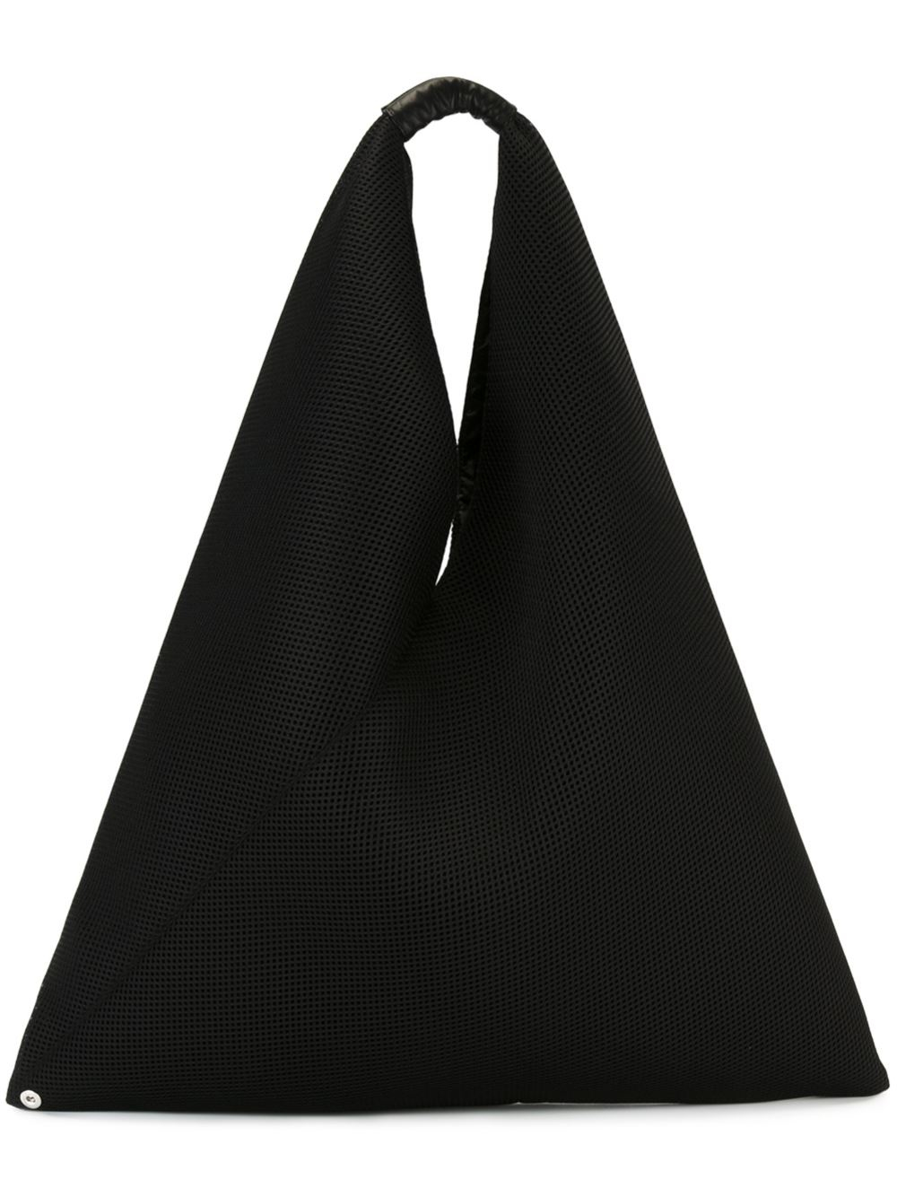 MM6 by Maison Martin Margiela Leather Textured Sack Tote in Black
