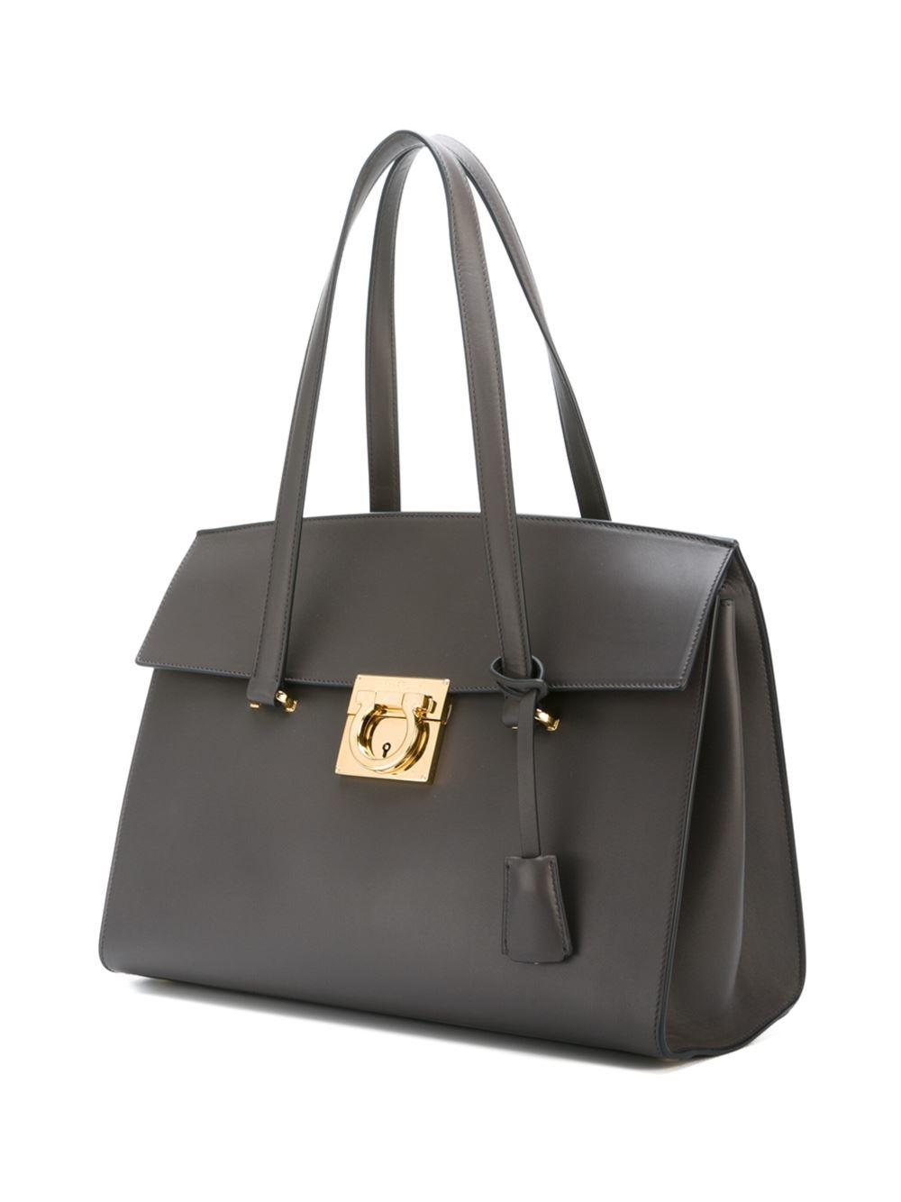 Ferragamo Leather 'mara' Tote in Grey (Grey)