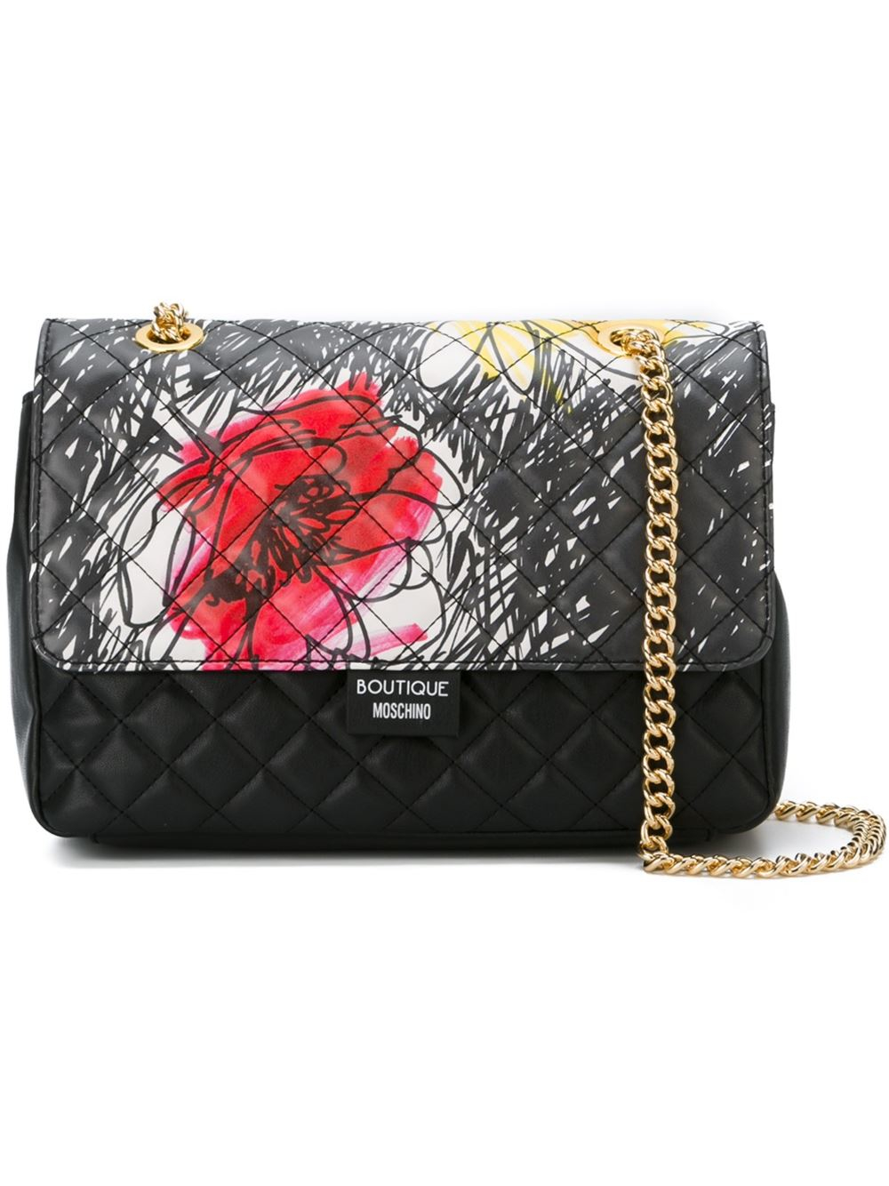 Lyst - Boutique Moschino Floral Quilted Shoulder Bag In Black